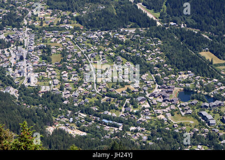 French Alps. Mont Blanc Massif. City of Chamonix in summer.  France. - Stock Photo