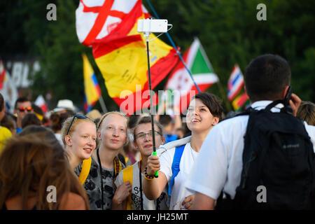World Youth Day. Krakow. 2016. Pilgrims. Poland. - Stock Photo