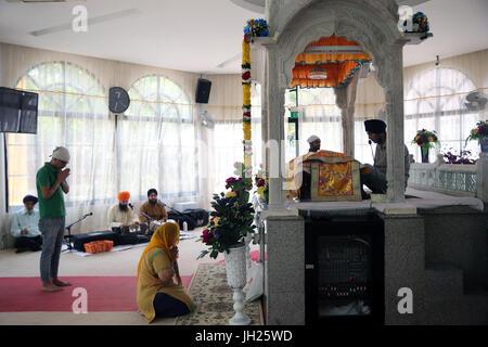 Gurdwara Sahib Silat Road ( Silat Road Sikh Temple ).  Bhai Maharaj Singh Memorial.  Tha Palki.  Singapore. - Stock Photo