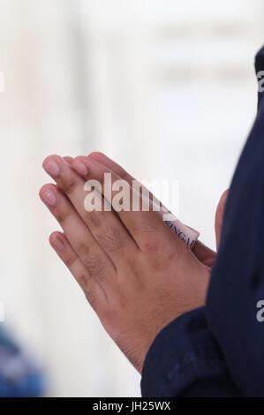 Gurdwara Sahib Silat Road ( Silat Road Sikh Temple ).  Man praying.  Singapore. - Stock Photo