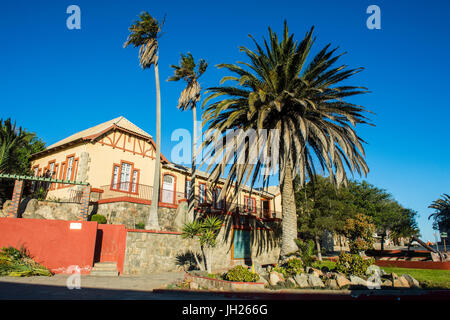 Old colonial German houses in Luderitz, Namibia, Africa - Stock Photo