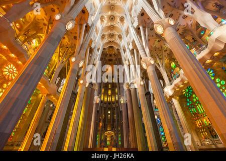 La Sagrada Familia church, basilica interior with stained glass windows by Antoni Gaudi, UNESCO, Barcelona, Catalonia, - Stock Photo