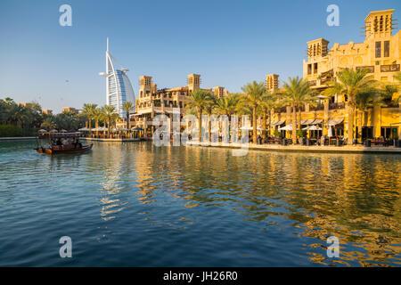 View of Burj Al Arab from Madinat Jumeirah, Dubai, United Arab Emirates, Middle East - Stock Photo