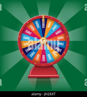 Realistic 3d spinning fortune wheel, lucky roulette vector illustration - Stock Photo
