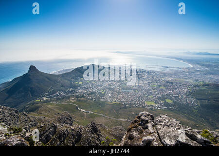 View over Cape Town from Table Mountain, South Africa, Africa - Stock Photo