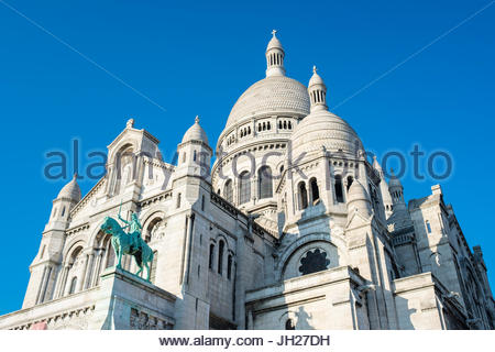 Basilica of Sacre Coeur, Montmartre, Paris, France, Europe - Stock Photo