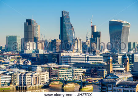 City of London skyline, modern buildings in Central London, including the Walkie Talkie and Cheesegrater, London, - Stock Photo