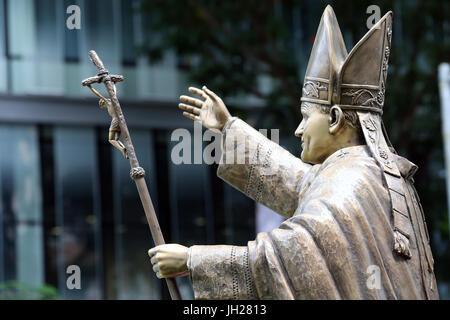 Cathedral of the Good Shepherd. Pope Saint John Paul II. Statue.  Singapore. - Stock Photo
