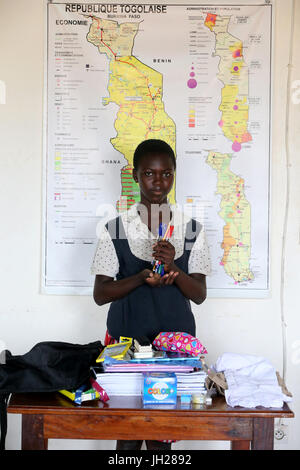 African primary school. Child sponsored by the NGO la Chaine de l'Espoir. Lome. Togo.