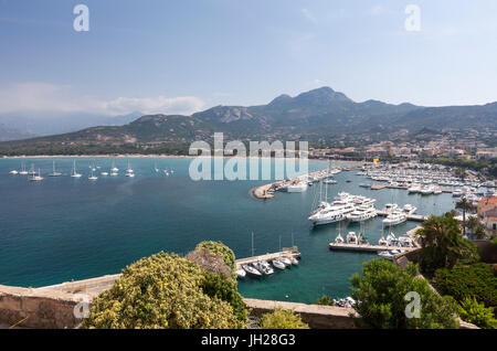View of the harbor in the bay surrounded by the turquoise sea, Calvi, Balagne Region, northwest Corsica, France, - Stock Photo