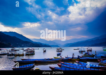 Boats docked on a lake at sunset in Pokhara, Nepal, Asia - Stock Photo