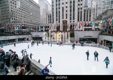The winter ice skating rink in Rockefeller Plaza, New York City, United States of America, North America - Stock Photo