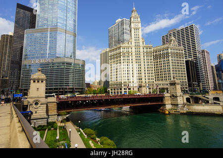 Trump Tower and Wrigley Building on the Chicago River, Chicago, Illinois, United States of America, North America - Stock Photo