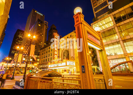 Chicago Theatre, North State Street, Chicago, Illinois, United States of America, North America - Stock Photo