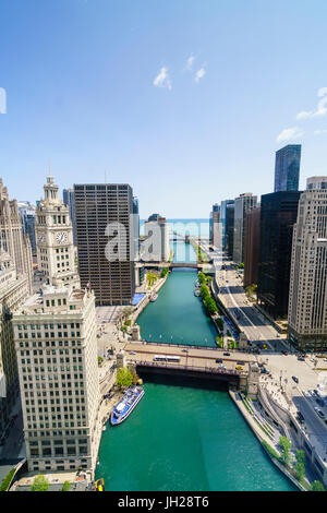 Towers along the Chicago River towards Lake Michigan, Chicago, Illinois, United States of America, North America - Stock Photo