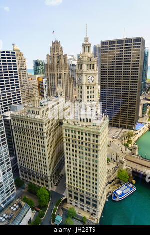 High view of the Wrigley Building, Chicago, Illinois, United States of America, North America - Stock Photo