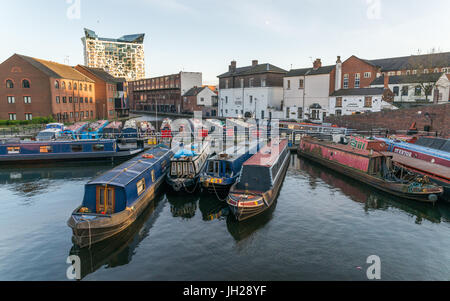 Houseboats on the Gas Street Canal Basin in the heart of Birmingham, England, United Kingdom, Europe - Stock Photo