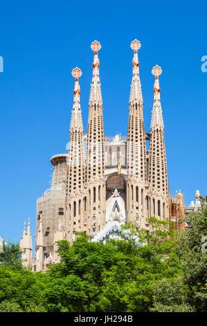 La Sagrada Familia church designed by Antoni Gaudi, back view, UNESCO, Barcelona, Catalonia (Catalunya), Spain - Stock Photo