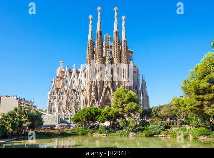 La Sagrada Familia church front view, designed by Antoni Gaudi, UNESCO, Barcelona, Catalonia (Catalunya), Spain - Stock Photo
