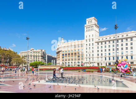 Placa de Catalunya, a large public square in the city centre of Barcelona, Catalonia (Catalunya), Spain, Europe - Stock Photo