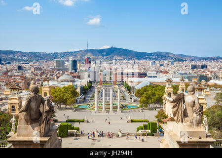 Skyline view over Barcelona from Montjuic, Barcelona, Catalonia (Catalunya), Spain, Europe - Stock Photo