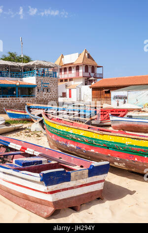Colourful traditional local fishing boats on the beach at Santa Maria, Praia da Santa Maria, Sal Island, Cape Verde, - Stock Photo