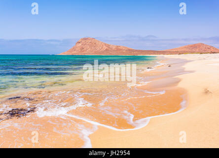 Empty sandy beach and bay near Monte Leao mountain (Sleeping Lion mountain), Sal Island, Cape Verde, Atlantic, Africa - Stock Photo