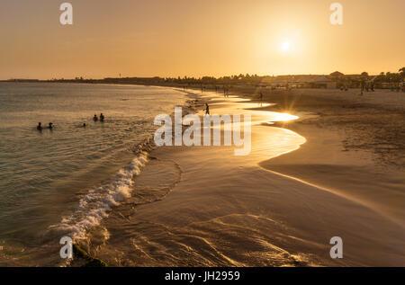 Sunset at the beach in Santa Maria, Praia de Santa Maria, Baia de Santa Maria, Sal Island, Cape Verde, Atlantic, - Stock Photo