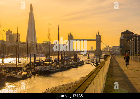 The Shard and Tower Bridge over River Thames, London, England, United Kingdom, Europe - Stock Photo