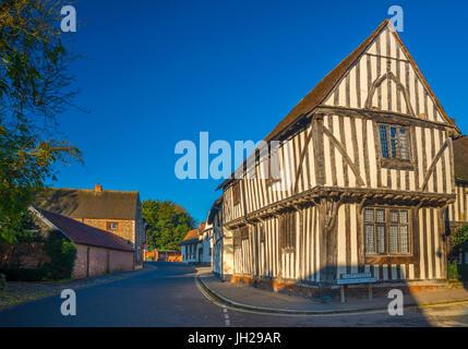 Corner of Water Street and Lady Street, Lavenham, Suffolk, England, United Kingdom, Europe - Stock Photo