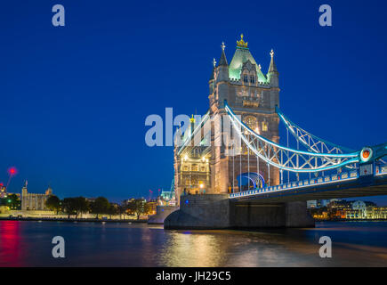 Tower Bridge over River Thames at night, London, England, United Kingdom, Europe - Stock Photo