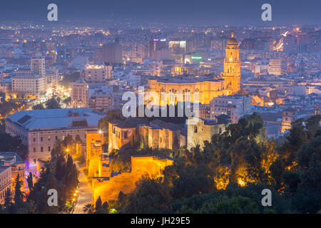 View of Malaga Cathedral from the Moorish castle fortress on Mount Gibralfaro, Malaga, Costa del Sol, Andalusia, - Stock Photo