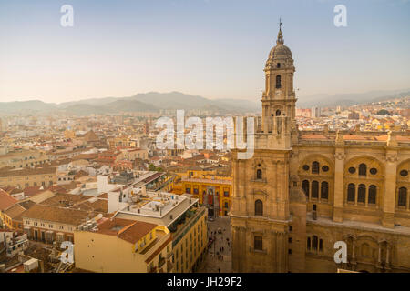 Elevated view of Malaga Cathedral, Malaga, Costa del Sol, Andalusia, Spain, Europe - Stock Photo