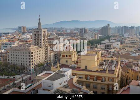 Elevated view of Alameda Principal, Malaga, Costa del Sol, Andalusia, Spain, Europe - Stock Photo