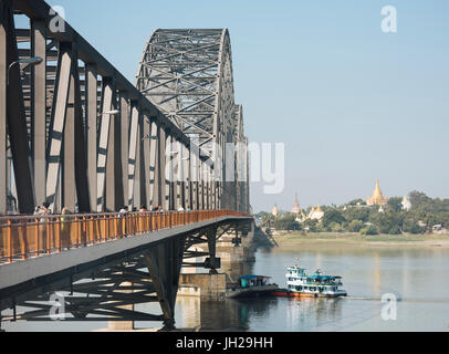 Sagaing Bridge, Mandalay, Mandalay Region, Myanmar (Burma), Asia - Stock Photo