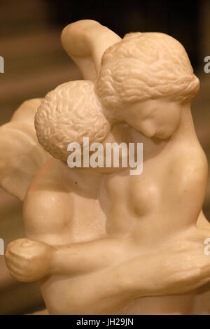 The Victoria and Albert Museum. Auguste Rodin. Cupid and psyche. Marble. About 1908. United kingdom. - Stock Photo