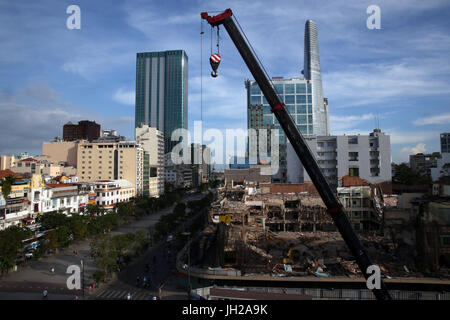 Construction site in Ho Chi minh city. Crane.  Vietnam. - Stock Photo