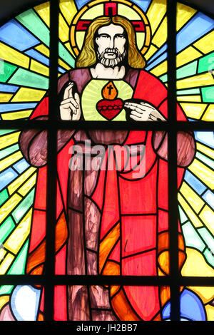 Ho Chi Minh city. Church of the Sacred Heart of Jesus ( Nha Tho Tan Dinh ).  Stained glass window. Ho chi Minh City. - Stock Photo