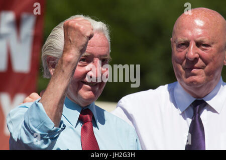 Dennis Skinner, the Member of Parliament for Bolsover, Durham Miners' Gala at Durham City, England. The 133rd Gala - Stock Photo