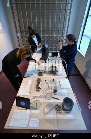 The curators of the exhibition 'smart materials satellites. Material als Experiment' Veronika Aumann, Julia Wolf - Stock Photo