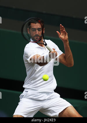 London, UK. 12th July, 2017. Marin Cilic of Croatia competes during the men's singles quarter-finals match with - Stock Photo