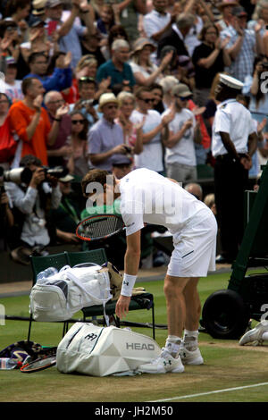 London, UK. 12th July, 2017. Wimbledon Tennis: London, 12 July, 2017 - Andy Murray after his quarterfinal loss to - Stock Photo