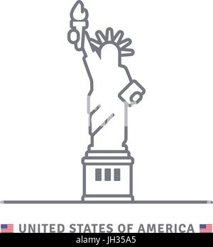 United States of America line icon. Statue of Liberty and US flag vector illustration. - Stock Photo