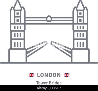 London line icon. Tower Bridge and Great Britain flag vector illustration. - Stock Photo