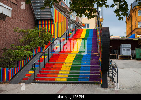 Stairs, painted in rainbow. Gay friendly 6 colors option. Falun, Sweden. - Stock Photo