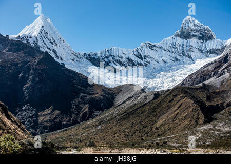 Nevado Pirámide and Pirámide in the Cordillera Blanca mountain range of the western Andes in Peru, South America. - Stock Photo