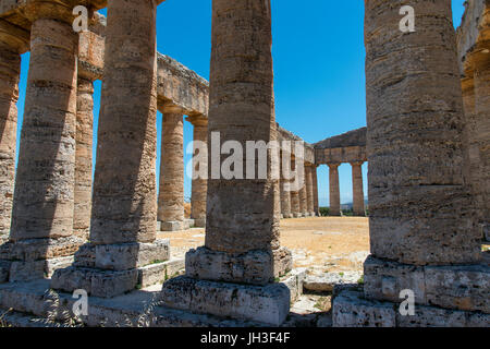 Interior view of the 5th century BC Doric temple at Segesta,  western Sicily, Italy. - Stock Photo