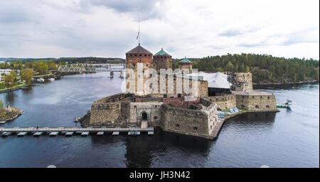 Aerial view of olavinlinna medieval castle, in Savonlinna, Savo, Finland - Stock Photo