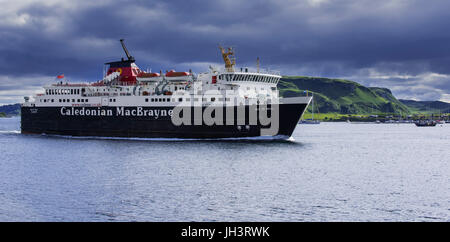 Isle of Mull ferry boat from Caledonian MacBrayne leaving the Oban port and sailing to Craignure, Argyll and Bute, - Stock Photo