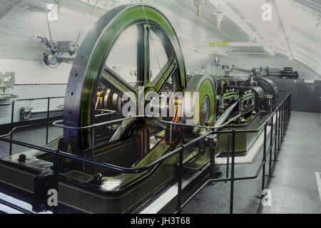 Tower Bridge engine room pump in London UK - Stock Photo